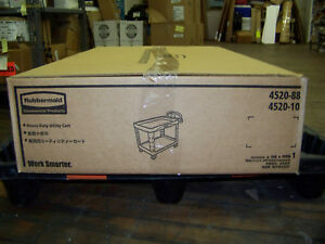 Rubbermaid Heavy Duty Utility Cart Polypropylene Raised Handle Fg452010bla Black