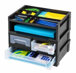 Desktop File Organizer Paper Tray Holder Office Desk Storage Letter Sorter Black
