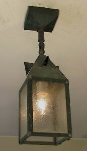 Restored Antique Exterior Mission Arts And Crafts Copper Porch Light Fixture L4