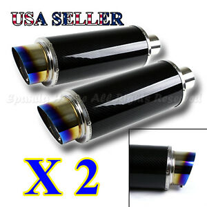 For Chevy 2x Na N1 Style Deep Tone Sport Race Carbon Fiber Exhaust Muffler s Tip