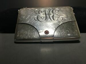Antique Sterling Silver Business Calling Card Holder On Chain