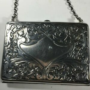 Antique Sterling Silver Evening Card Holder With Chain