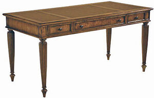 Oak And Burl Ash Writing Desk Table With Embedded Leather Work Surface