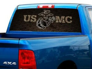 P477 Usmc Marines Rear Window Tint Graphic Decal Wrap Back Pickup Graphics