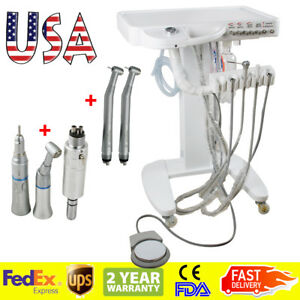 Usa Portable Dental Delivery Mobile Cart Unit Equipment 4 hole Syringe Handpiece