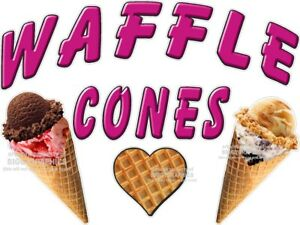 Waffle Cones Ice Cream Vinyl Decal choose A Size Stands Boardwalk Shops