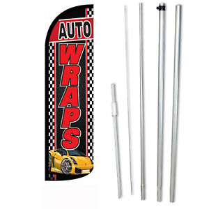 Auto Wraps Flag Flutter Feather Banner Swooper Extra wide Windless Bundle