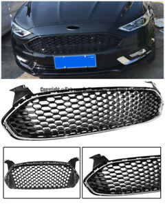 Mustang Style For 13 up Ford Fusion Front Bumper Black Grille Chrome Trim