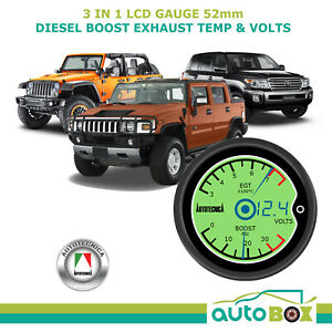 Diesel Boost Ext Temperature Volts 3 In 1 Lcd Gauge Combo Digital Display 4wd