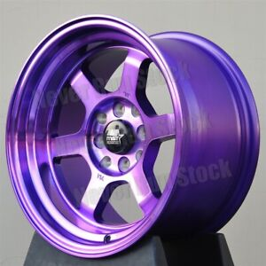 Mst Mt 01 15x8 4x100 114 3 0 Offset 6 Spokes Machine Purple W Lip Tuner Wheels