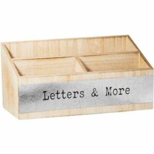 Home Essentials Wood Divided Desk Organizer With Metal Plaque