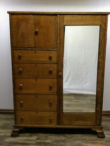 Antique Claw Feet Quarter Sawn Solid Oak Chifferobe Wardrobe Original Mirror