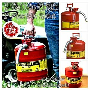5 Gallon Fuel Safety Can Type Ii Flexible Hose Galvanized Steel Gas Oil Red Cun