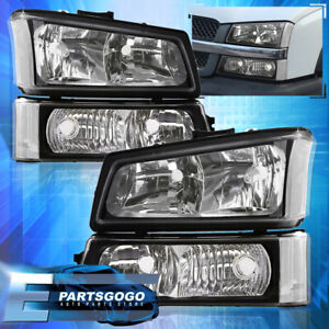 Black 2003 2006 Chevy Silverado 1500 2500 3500 Head Lights signal Bumper Lamp