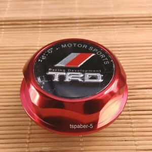 New Jdm Trd Engine Oil Filler Cap Made Of Billet Aluminum Red Fit Japan Car
