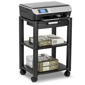 Mobile Laptop Printer Cart Rolling Computer Stand Portable Office Shelf Table