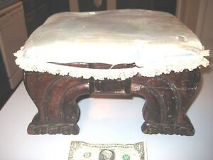 Antique Victorian Oak Claw Foot Upholstered Ottoman Or Foot Stool 10 X 12