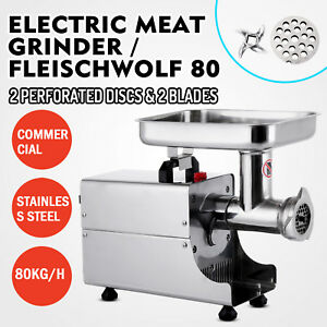 Commercial 80kg h Steel Meat Grinder 2 Knifes Stainless Sausage Stuff 370w