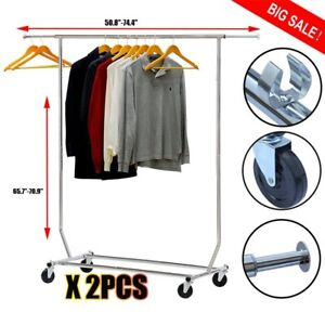 2x Heavy Duty Collapsible Commercial Single Clothing Garment Rack Adjustable Ek2
