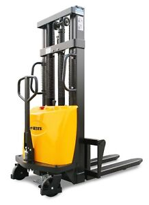 Semi Electric Straddle Pallet Stacker Lift 3300lb max Lift Height 138 In