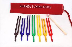 7 Chakra Tuning Fork Color Therapy Energy Healing Mallet Free Shipping