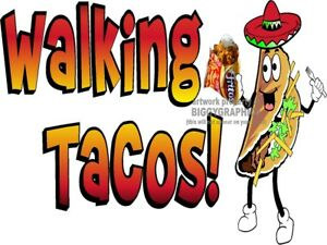 Walking Taco In A Bag Vinyl Decal choose Size Concession Stand Boardwalk Shops