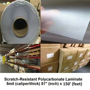 5mil Clear Polycarbonate Velvet texture Self adhesive Laminate Roll 51 X 75