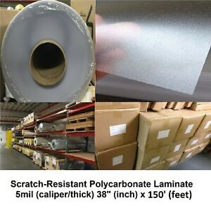 5mil Clear Polycarbonate Velvet texture Self adhesive Laminate Roll 38 X 75