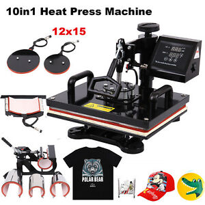 10 In 1 Heat Press Machine Transfer Sublimation T shirt Mug Cup Plate Cap Hat