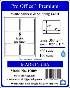 3000 Pro Office Premium 4 X 3 1 3 6 up Self Adhesive Blank Laser ink Jet Labels