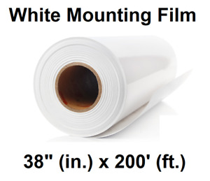White Opaque Self adhesive Polypro Perm Mounting Film Roll 38 Inches X 200 Feet