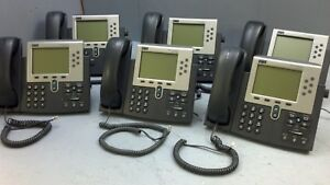 Lot Of 6 Cisco Systems Cp 7961g 7961g Ip Voip Phone Telephones W Handsets