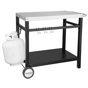 Royal Gourmet Bbq Work Table Outdoor Kitchen Prep Cart Stainless Steel