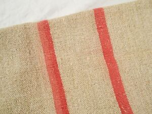 Vtg Antique Rose Stripe European Hemp Linen Fabric Feed Sack Grain Bag 51x23
