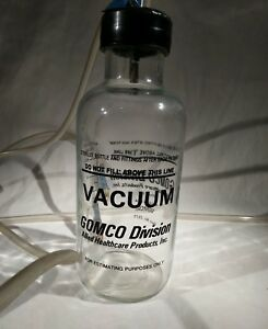 Vintage Gomco Glass Suction Canister 600 Ml With Cap Assembly 01 90 2675
