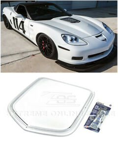 For 05 13 Corvette C6 Zr1 Style Front Clear Window Heat Extractor Hood Insert