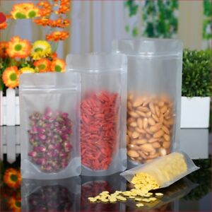 Stand Up Frosted Clear Plastic Bags Zip Lock Food Storage Pouch Poly Zipper Seal