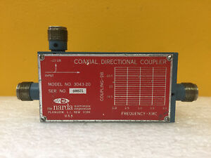 Narda 3043 20 2 To 4 Ghz 20 Db 500 Watts Type N f Directional Coupler Tested
