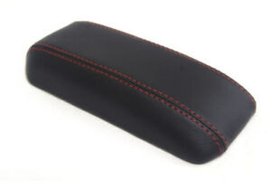 Fits 96 00 Honda Civic Synthetic Leather Armrest Center Console Cover Red Stitch