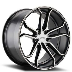 New 4pcs 20 Staggered Varro Wheels Vd02 Gloss Black W Brushed Face Rims