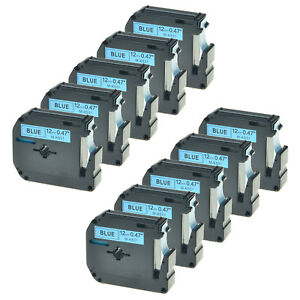 10 Pk Black On Blue Label For Brother M k531 M531 Mk531 P touch Tape Pt 65 70hot