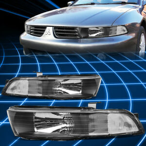 Left right Black Housing Clear Side Headlight lamps For 99 03 Mitsubishi Galant