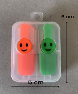 Joblot 6 Set Mini Happy Highlighter Pen Staionery Office Orange Green 6 Cm Long
