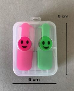 Joblot 6 Sets Mini Happy Highlighter Pen Staionery Office Pink Green 6 Cm Long