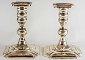 Pair Of Sterling Silver Square Stepped Base Candlesticks 6 Tall