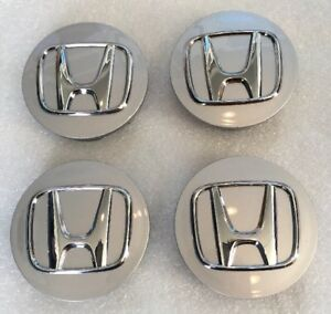 Genuine Oem Honda Silver Chrome Logo Wheel Center Cap Set Of 4 Pcs Part 44742