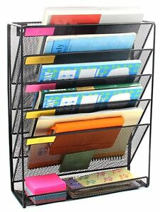 Wall File Organizer Magazine Rack Holder More Spaces 5 Slots Professional Look