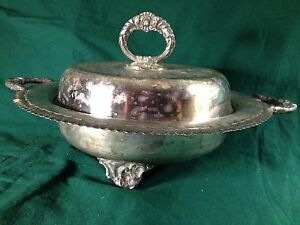Antique Lidded Footed Serving Dish Silverplate Gruris Plate Industria Argentina