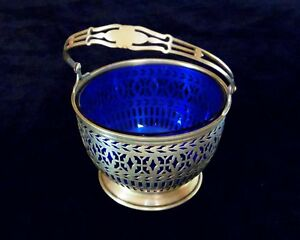 Antique Sterling Silver Cobalt Glass Basket Wilcox Wagoner New York Usa