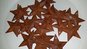 Lot Of 25 Rusty 1 5 1 1 2 Country Barn Stars 3d Rusted Hang Hole Star